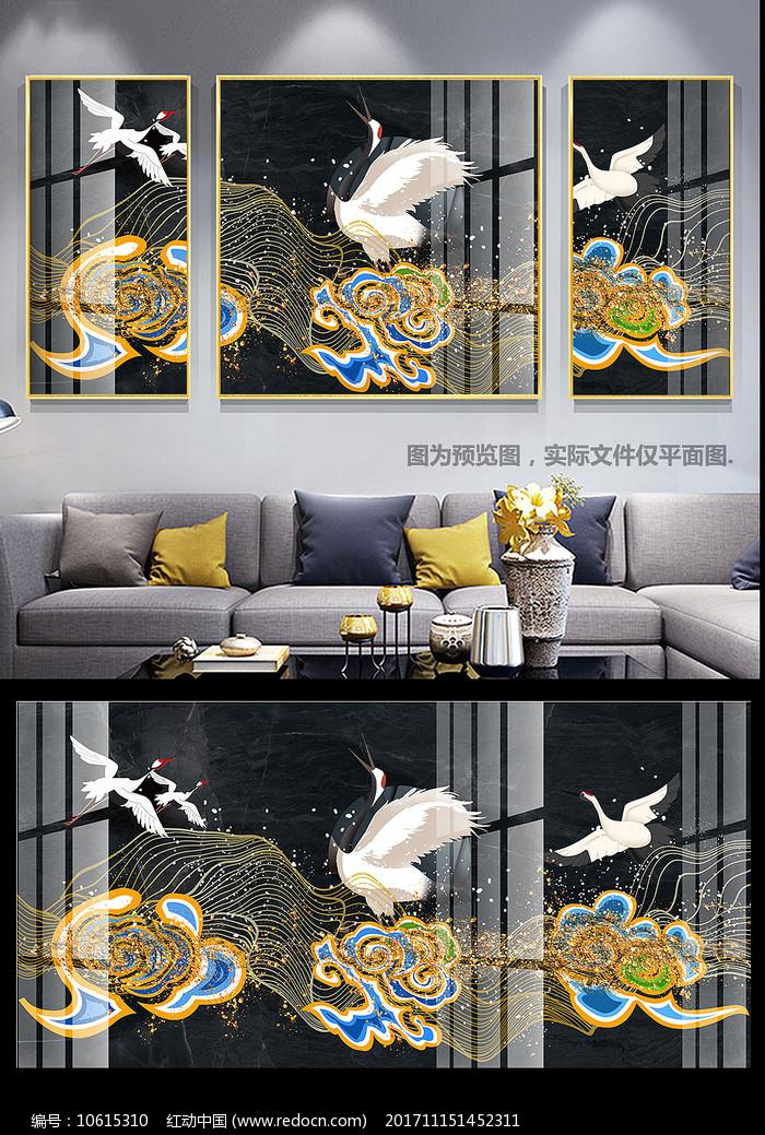 新中式祥云仙鹤金色线条三联装饰画图片