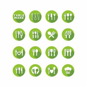 扁平化餐具刀叉工具矢量图标