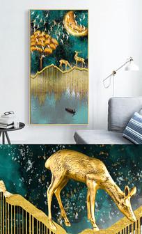 新中式轻奢艺术抽象麋鹿风景玄关晶瓷画