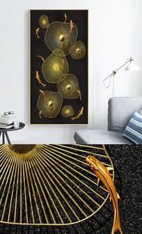 新中式轻奢艺术年轮鱼群玄关晶瓷画