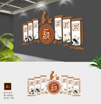 新中式教师道德规范文化墙校园文化墙