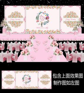 浪漫粉色碎花婚礼背景板设计