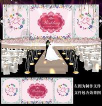 浪漫碎花婚礼背景板设计