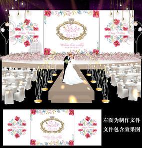 水彩花卉婚礼舞台背景板设计