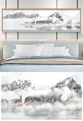 现代轻奢黑白中国风山水高档床头装饰画