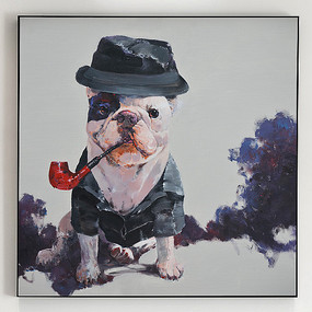 超高清纯手绘油画创意狗