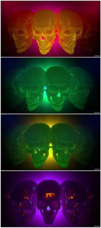恐怖骷髅头酒吧夜店舞台背景视频素材