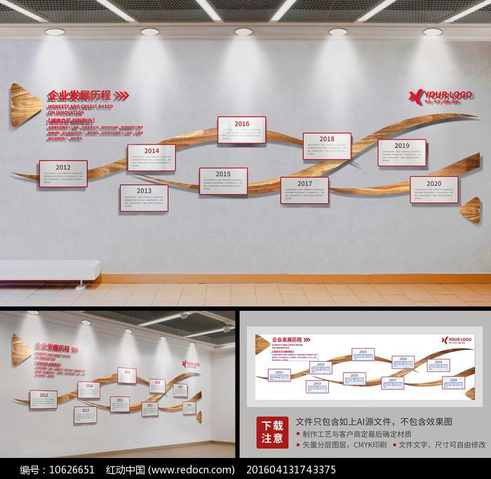 动感企业文化墙发展历程形象墙模板设计图片