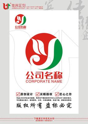 Y英文字母绿叶飞鸟环保标志设计