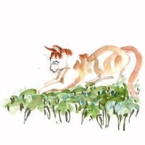 觅食的小猫插画