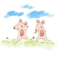 手绘卡通老鼠插画
