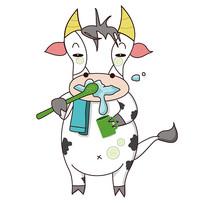 原创小奶牛洗漱敷面膜表情
