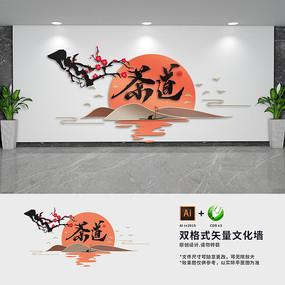 中式茶道文化墙