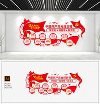 红色十九大党的光辉历程党建文化墙