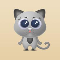 灰色小猫卡通图片