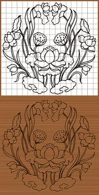 蓮花荷花矢量線圖素材圖案