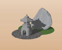 日式建筑古塔假山