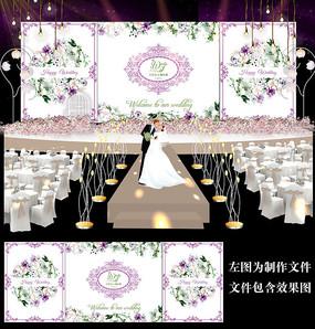 浪漫紫色水彩婚礼背景板