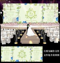 绿色小清新婚礼背景板设计