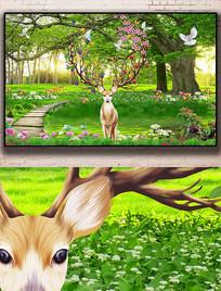 唯美新中式清新风景麋鹿背景墙