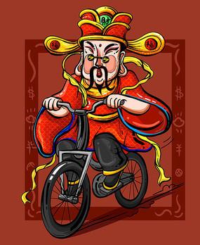 原创涂鸦骑车的小财神
