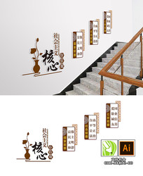 中式社会主义核心价值观楼梯文化墙