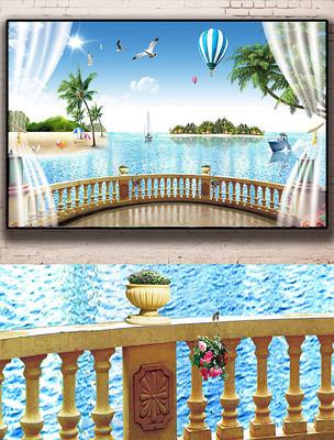 地中海风碧海蓝天沙滩椰树阳光海景背景墙