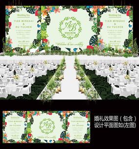 森系婚礼迎宾背景设计