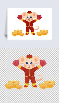 金币红包鼠年吉祥物插画