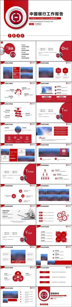 中国银行工作汇报PPT模板