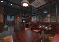 工业风西餐厅3D模型设计