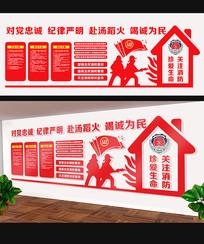 红色消防安全文化墙