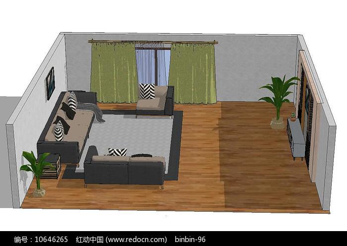 客厅软装场景模型图片