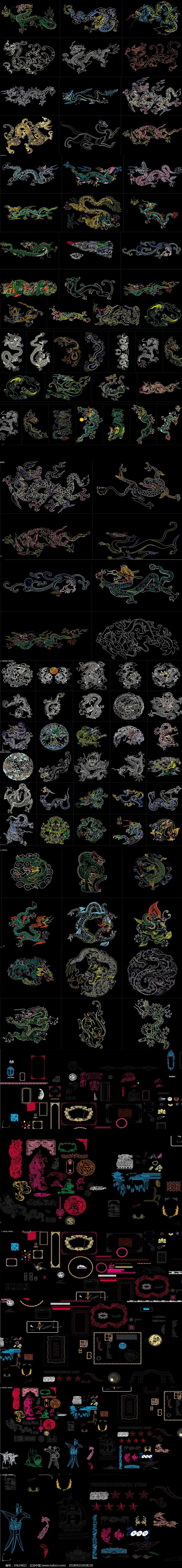 龙纹 花纹中式图案CAD图库图片