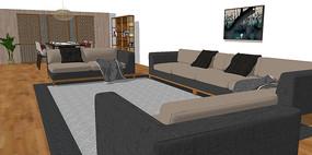 現代新中式客廳設計