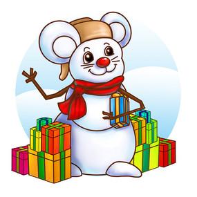 原创新年小鼠雪人