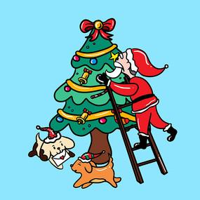 原创元素圣诞温馨插画