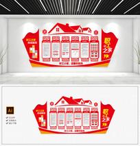 大型红色社区职工之家文化墙效果图宣传栏