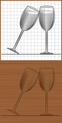 紅酒酒杯矢量圖