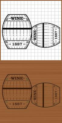 木酒桶红酒酒桶木质矢量图