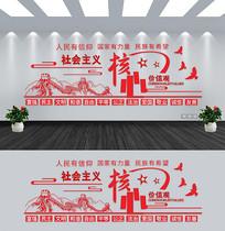 核心价值观楼道文化党建文化墙