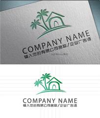 椰树房子LOGO标志设计