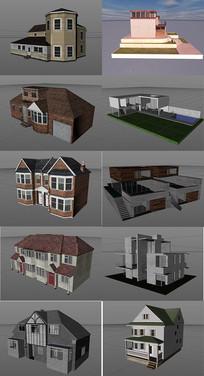 10个C4D别墅建筑模型