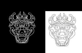 CAD龙头民间神话传说素材线稿
