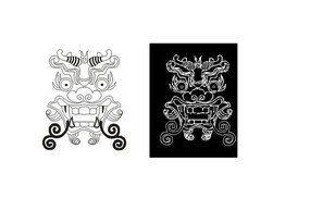 CAD龙头民间神话传说素材线稿景墙浮雕