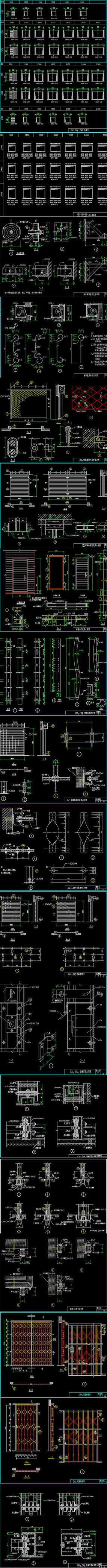 各种型号铁栅门-卷帘门设计节点图集