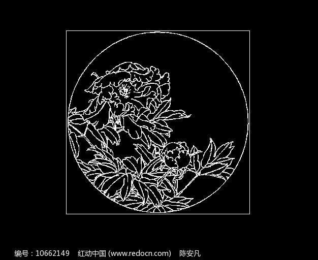 花开富贵牡丹花富贵花CAD线稿素材图片
