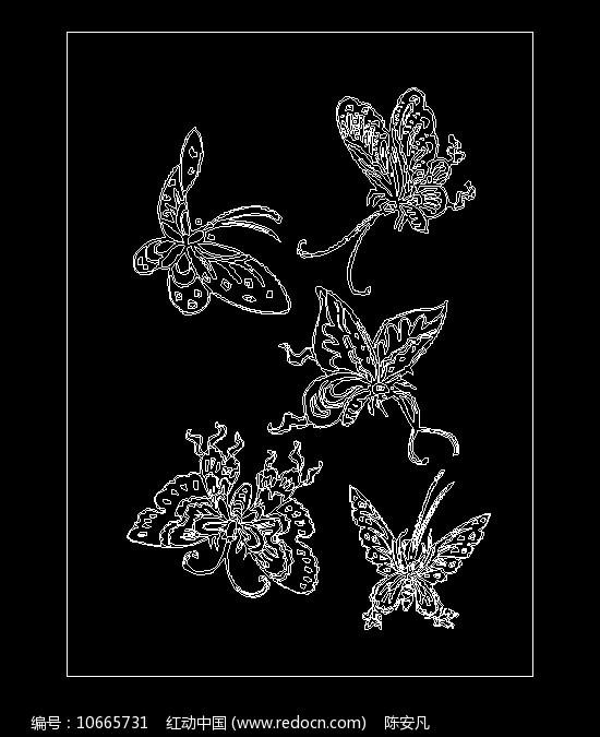 蝴蝶线稿CAD素材图片