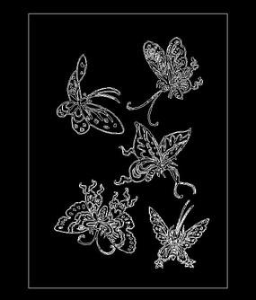 蝴蝶线稿CAD素材