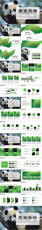 保护动物吃竹子国宝熊猫野生动物ppt模版